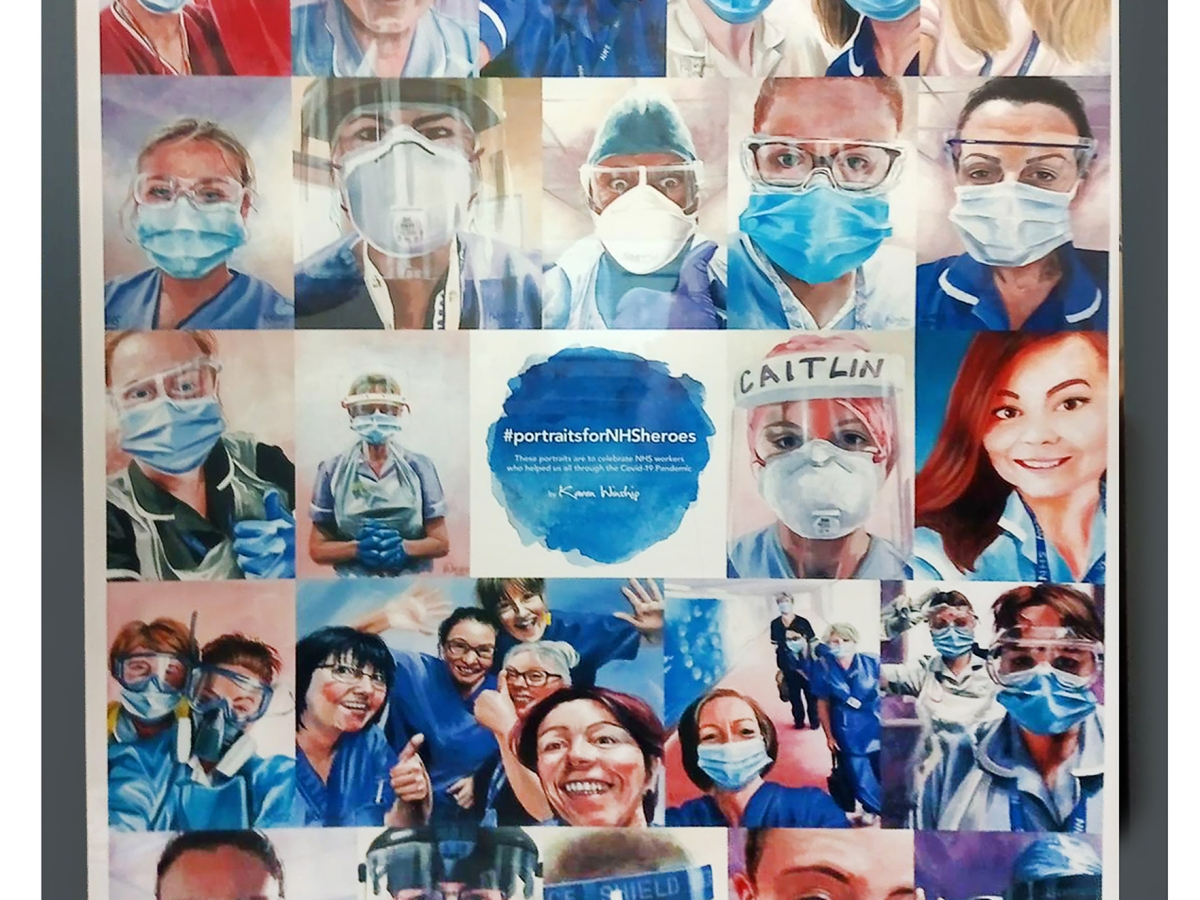 Montage of NHS staff portraits by Karen Winship