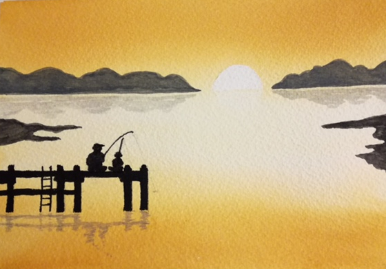 watercolour, silhouette of two people fishing on jetty, by Wendy Purvis
