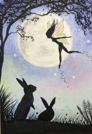 watercolour, silhouette of rabbits and fairy, by Wendy Purvis
