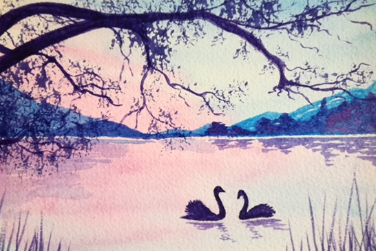 watercolour of swans on water by Wendy Purvis