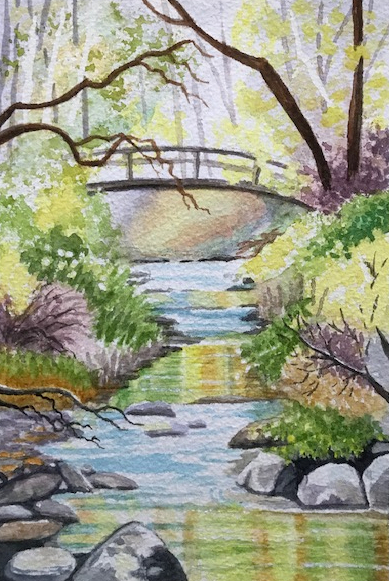 watercolour painting of bridge over stream by Wendy Purvis